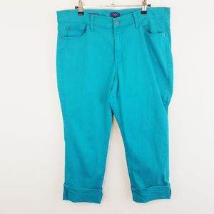 NYDJ Wide Cuff Capri Blue 14